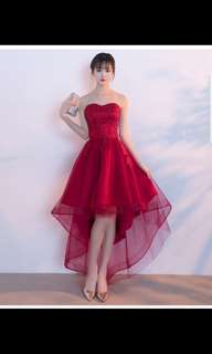 Wine red tube top high low dress instock