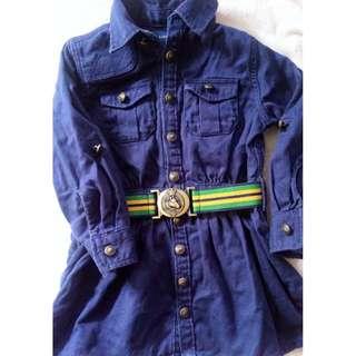 Preloved Ralph Lauren Blue Dress/ Coat with belt