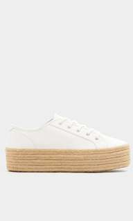 Pull and bear white jute sneakers