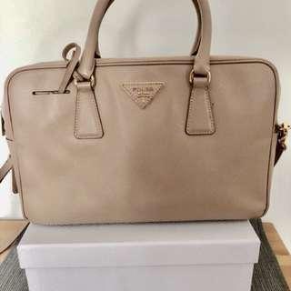 Prada light taupe leather tote bag