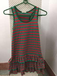 🚚 紅綠伸縮條紋洋裝