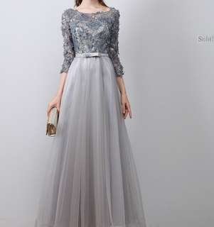 Grey black 3/4 sleeve long evening dress