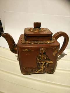 Very Old Teapot with gold plated