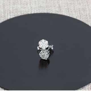 18K白金碎鑽耳環