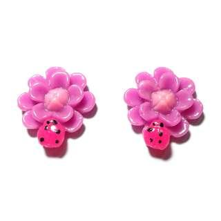 Handmade Korean Style Purple Flower Lady Bird Resin Pain Relief Safety Earring Clip For Kids