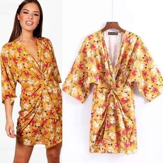 2018 Summer New Retro Print V-Neck Pleated Dress