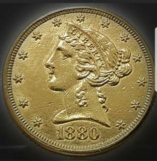 United States of America Five Dollars of 1880 Gold Coin.