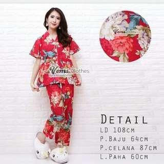 GROSIR Pajamas Katun Jepang CP Flower Red