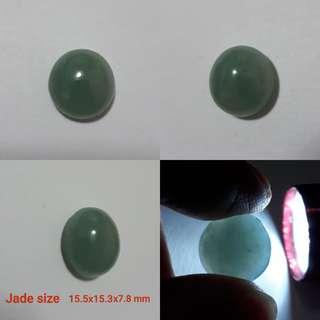 Burmese Jadeite cabochon(缅甸玉戒面). Very nice Blue green.