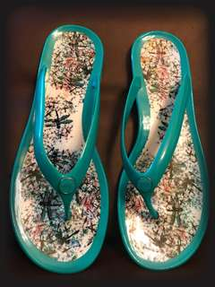 PRELOVED TED BAKER Dragonfly Icon Print Flip Flop