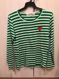 Green stripes long sleeves