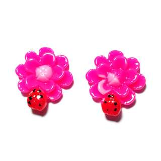 Handmade Korean Style Virtual Pink Flower Lady Bird Resin Pain Relief Safety Earring Clip For Kids