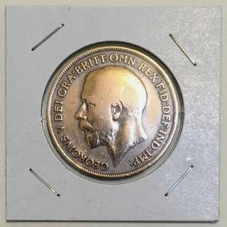 英國1919年1便士銅幣