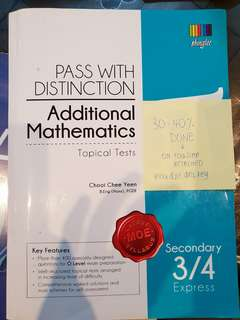 Pass with distinction Additional Maths Sec 3/4