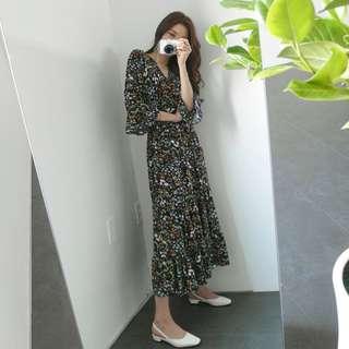 全新 韓國V領深藍碎花7分袖雪紡長裙長洋裝