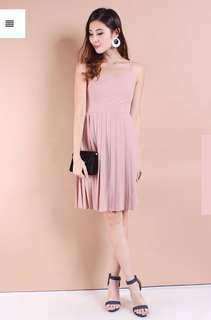 NM ALLEGRA PLEATED FIT FLARE SLIP DRESS IN BLUSH PINK [S]