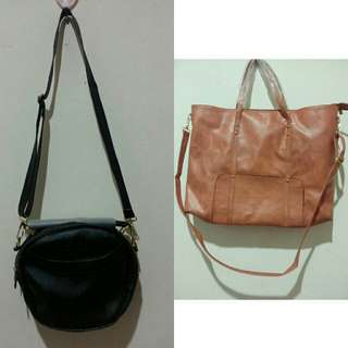 Black sling bag brown