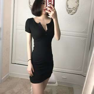 Little Black Bodycon Dress with front button