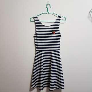 H&M striped dress with cutouts