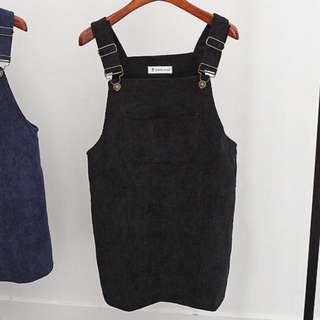 black corduroy pinafore dress / dungaree