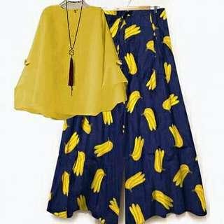 dv set kulot tri banana navy atasan kuning gil  ATASAN BALOTELI , CELANA KATUN JEPANG FIT TO L+