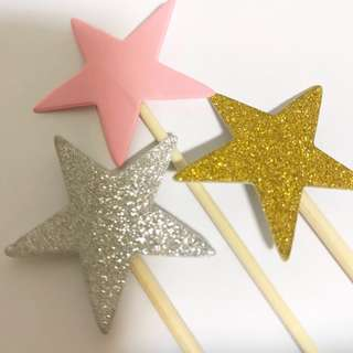 Glitter Sparkly Star Cupcake & Cake Topper