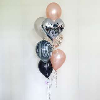 Graduation Balloons/ Personalised Foil Balloon Cluster/ Rose Gold Bouquet