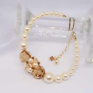 14K Gold Filled Swarovski Round Pearls & Crystals Bracelet