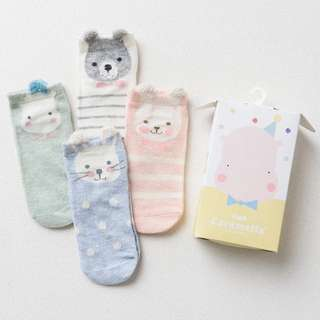 Instock - 4 pairs assorted socks, baby infant toddler girl children cute glad 123456789 lalalala