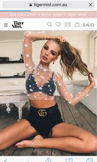 Lace star crop top