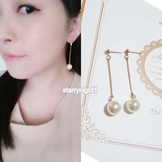 珍珠 垂墜 耳針 金 氣質百搭時尚簡單 長 耳環 耳釘