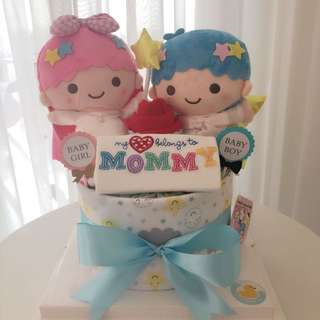 Twin Baby Diaper Cake 1-Tier for Twins / Twin Boy & Girl / Baby Shower Gift