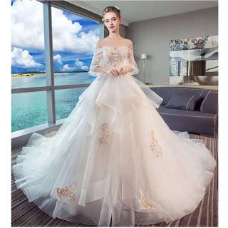 Pre order white off shoulder fishtail long sleeve wedding bridal prom evening dress gown  RB0615