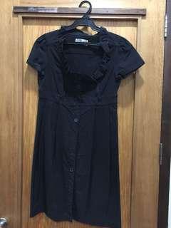 Zara black dress with square neckline