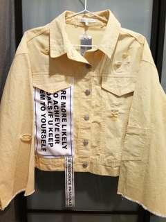 Yellow colour,loose short jacket,