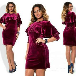 3/4 Sleeve Velvet Elegant Dress L - 5XL Preorder Only