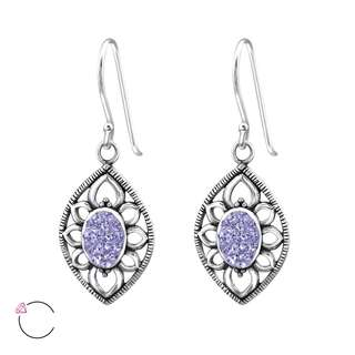 Sterling Silver 925 Antique Earrings with Crystals from Swarovski®