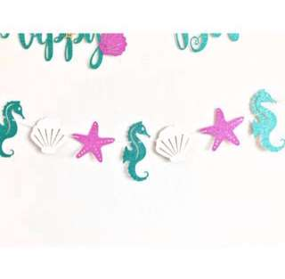 Under The Sea Bunting - Birthday / baby shower / party / kids / mermaid theme
