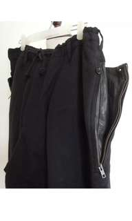 Yohji Yamamoto POUR HOMME black wool LEATHER POCKETS pants