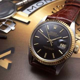 SOLD-        36mm Rolex Men's Datejust In Dark Slate Grey Sunburst