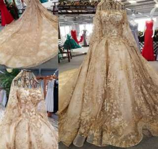 High-end custom in size Lace flowers Bride wedding Dress