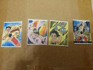 阿童木蓋銷郵票四枚一套