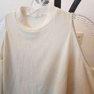 Torte off white cold shoulder mock neck knit top