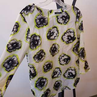 Esther Woman black and white floral print with neon green accent blouse