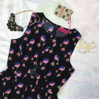 Navy Floral Scallop Playsuit