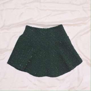 green glittery skirt