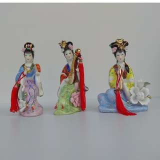 One set of 3 pieces Vintage Chinese Sculpture Porcelain Figurines Ladies playing different musical instruments