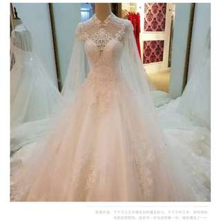Pre order white fishtail cape diamond wedding bridal prom evening dress gown  RB0620