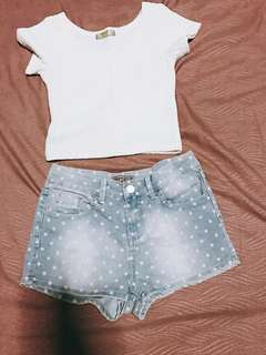 Korean White Crop Top Tee & Polka Dots Jeans Shorts - Two Piece Sets