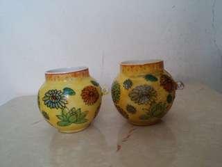 古典手繪花陶瓷畫眉雀杯一對